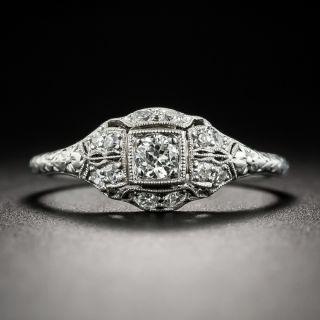 Petite Art Deco Diamond Platinum Engagement Ring