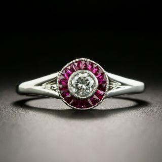 Petite Art Deco Style .18 Carat Diamond and Ruby Halo Ring - 2