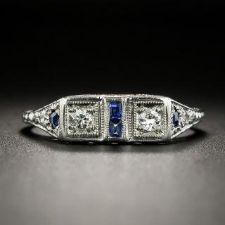 Small Art Deco Twin Diamond Synthetic Sapphire Ring - 3