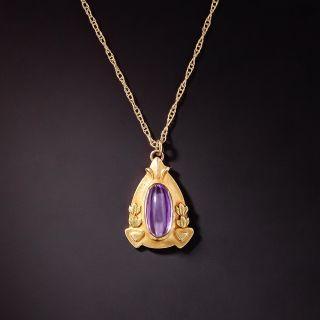 Petite Art Nouveau Cabochon Amethyst Necklace - 1