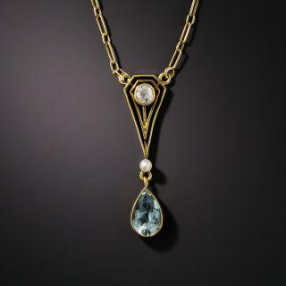 Petite Arts & Crafts Aquamarine Necklace - 2
