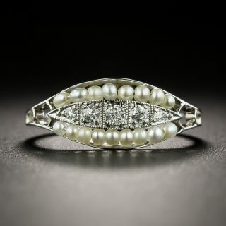 Petite Edwardian Diamond and Pearl Ring - 2