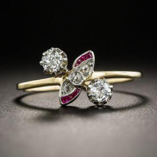 Petite Edwardian Diamond Calibre Synthetic Ruby Ring  - 1
