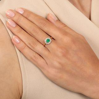 Petite Edwardian Emerald and Diamond Halo Ring
