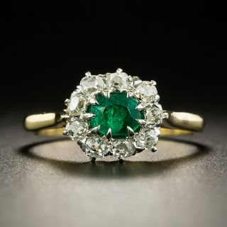 Petite Edwardian Emerald and Diamond Halo Ring - 2
