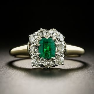 Petite Edwardian Emerald and Diamond Ring - 1