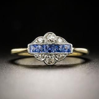 Petite English Edwardian/Art Deco Sapphire Diamond Ring - 2
