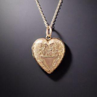 Petite English Engraved Heart Locket c.1909 - 1
