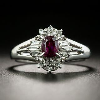 Petite Estate .49 Carat Ruby an Diamond Ring - 1