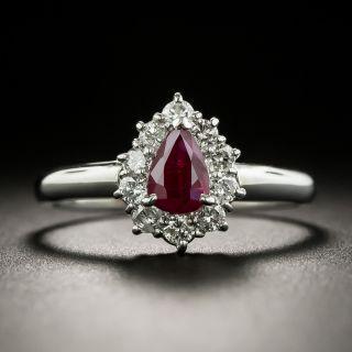 Petite Pear-Shaped Ruby Diamond Halo Ring - 1