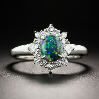 Petite Platinum Black Opal and Diamond Estate Ring