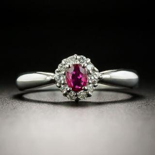 Petite Ruby and Diamond Halo Ring - 2