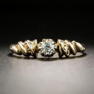 Petite Victorian .17 Carat Diamond Solitaire Engagement Ring - 2