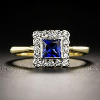 Petite Vintage Style Sapphire and Diamond Ring - 1