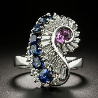 Pink And Blue Sapphire and Diamond Swirl Ring - 1