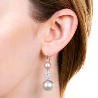 Pink and Silver Pearl with Diamond Drop Earrings