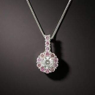 Pink And White Diamond Drop Necklace - 1