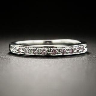 Pink Diamond Platinum Wedding Band - 2