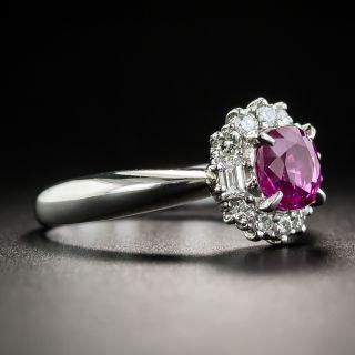 Pink Sapphire Platinum Diamond Halo Ring