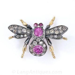 Pink Tourmaline and Diamond Insect Pin