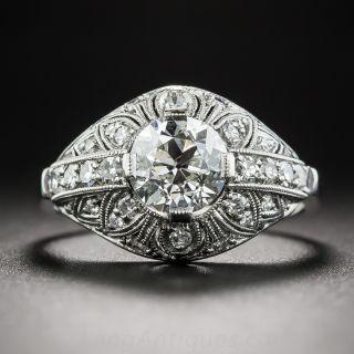 Platinum 1.03 Carat Diamond Art Deco Engagement Ring - GIA I VS2 - 1