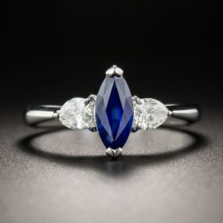 Platinum 1.04 Carat Marquise Sapphire and Diamond Ring
