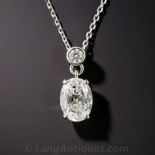 Platinum 1.06 Oval Diamond Pendant