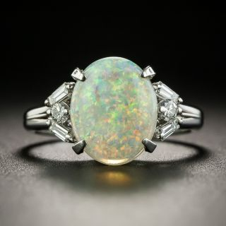 Estate Opal and Diamond Ring - 1