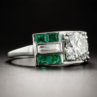 Platinum 1.51 Carat Diamond and  Emerald Art Deco Ring - GIA  H VS1