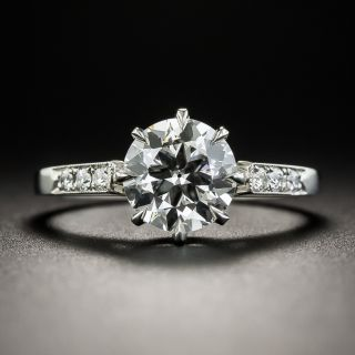 Platinum 1.57 Carat European Cut Diamond Ring by Lang - GIA F VS1 - 1