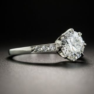 Platinum 1.57 Carat European Cut Diamond Ring by Lang - GIA F VS1