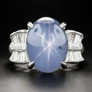 Platinum 16.50 Carat Star Sapphire and Diamond Ring - 1