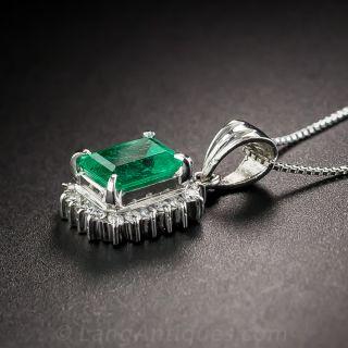 Platinum .90 Carat Emerald and Diamond Drop
