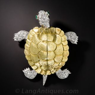 Platinum and 18K and Diamond Turtle Pin by McTeigue
