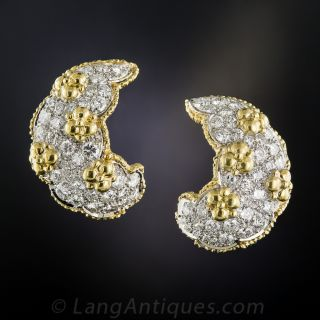 Platinum and 18K Diamond Ear Clips  - 2