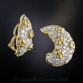 Platinum and 18K Diamond Ear Clips