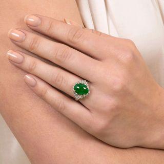 Burmese Jade and Baguette Diamond Ring