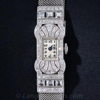 Platinum and Diamond Art Deco Mesh Band  Watch by Gubelin - 1