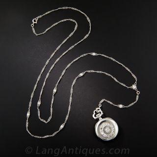 Platinum and Diamond Art Deco Pendant Watch Necklace by Meylan