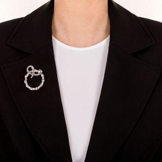 Platinum and Diamond Circle/Wreath Brooch