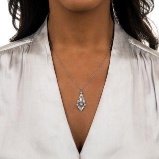 Edwardian Style Diamond Pendant Necklace