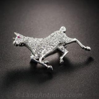 Platinum and Diamond Prancing Horse Pin