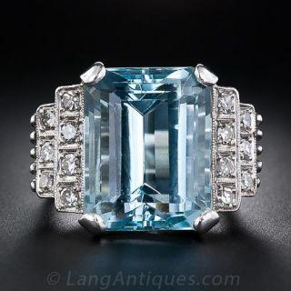Platinum Aquamarine and Diamond Retro Ring