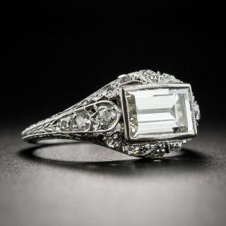 Platinum Art Deco 1.76 Carat Emerald-Cut Ring