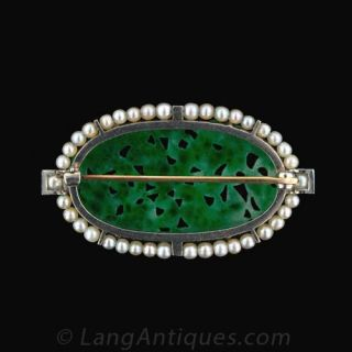 Platinum Art Deco Carved Jadeite Brooch