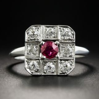 Platinum Art Deco Ruby and Diamond Ring