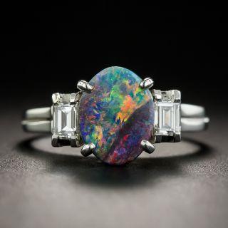 Platinum Black Opal and Diamond Ring - 1