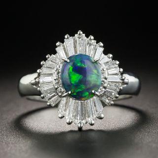 Platinum Black Opal Baguette Diamond Ballerina Ring - 1