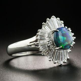 Platinum Black Opal Baguette Diamond Ballerina Ring
