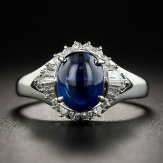 Platinum Cabochon Sapphire Platinum Diamond Ring - 1